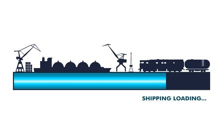 Cargo port. Shipping and delivery concept. Progress or loading bar