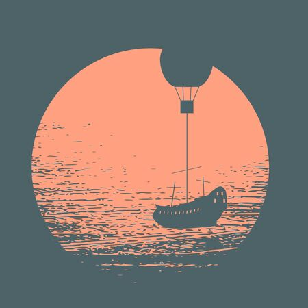 Floating sailing ship hanging by rope to air balloon Illustration