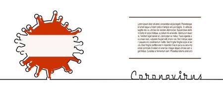 Abstract virus silhouette and Coronavirus text in thin line style. Coronavirus virus danger relative illustration. Medical research theme. Virus epidemic alert. Flag of the Austria