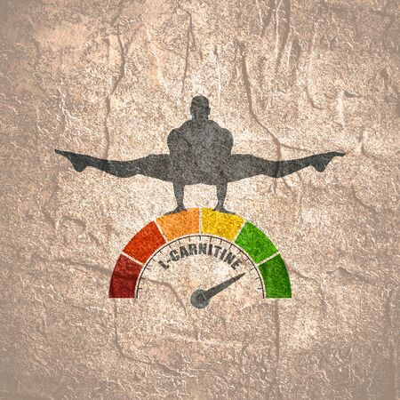 Gradient scale. L- Carnitine level measuring device icon. Sign tachometer, speedometer, indicators. Infographic gauge element. Silhouette of muscular man