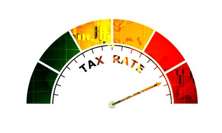 Abstract meter read high level of tax rate result. Color scale with arrow. The measuring device icon. Colorful infographic gauge element.