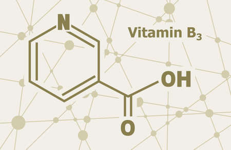 Structural chemical formula of niacin. Nicotinic acid or vitamin b3. Connected lines with dots background.