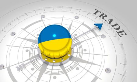 Business concept. Abstract compass points to the trade word. Flag of the Ukraine. 3D rendering Reklamní fotografie
