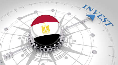 Business concept. Abstract compass points to the invest word. Flag of the Egypt. 3D rendering