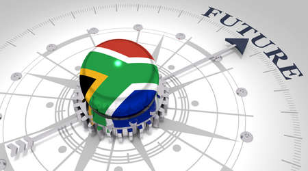 Business concept. Abstract compass points to the future word. Flag of the South Africa. 3D rendering