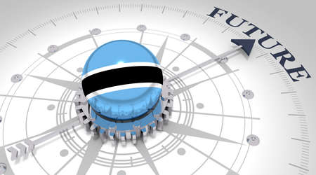 Business concept. Abstract compass points to the future word. Flag of the Botswana. 3D rendering Stockfoto