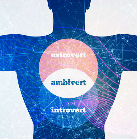 Extrovert, ambivert and introvert concept. Human psychology. Overlapped circles diagram 스톡 콘텐츠