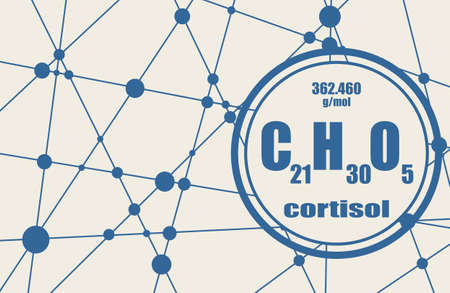 Chemical formula of hormone cortisol. Connected lines with dots background Stock Illustratie