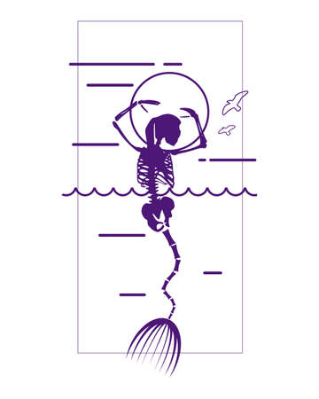 Illustrations of skeleton of beautiful mermaid. Fairy tale abstraction
