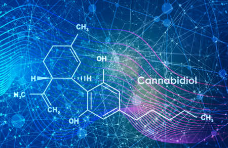 Cannabidiol or CBD molecular structural chemical formula. Connected lines with dots background.
