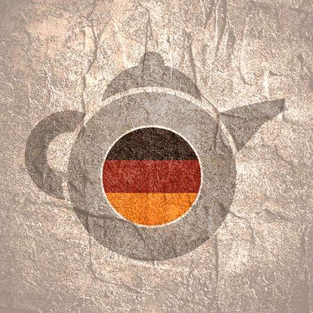 Tea emblem template and design element for tea shop, restauran. Teapot abstract illustration. Flag of the Germany