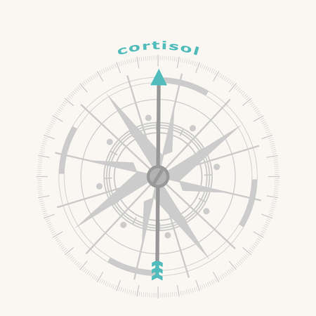 Hormone cortisol. . Health care concept illustration. Compass symbol on geometry pattern Illustration