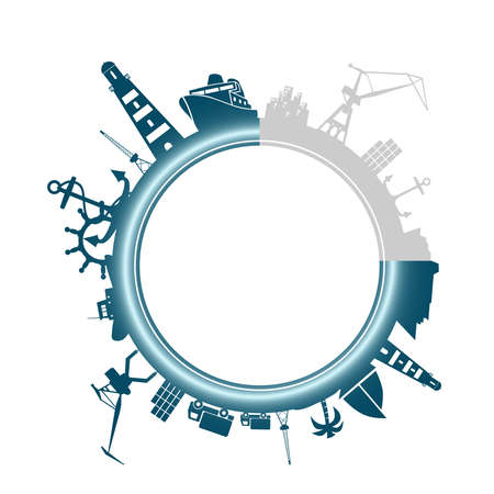 Circle with sea shipping and travel relative silhouettes. Objects located around the circle. Industrial design background. Progress or loading bar Vettoriali