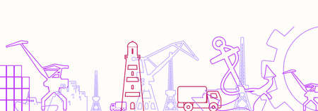 Cargo port relative icons set. Illustration for web banner or header. Thin lines style