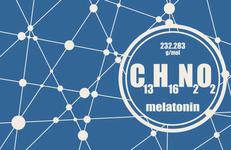 Melatonin hormone chemical formula. In humans, it plays a role in circadian rhythm synchronization. Stylized conventional skeletal formula. Connected lines with dots background