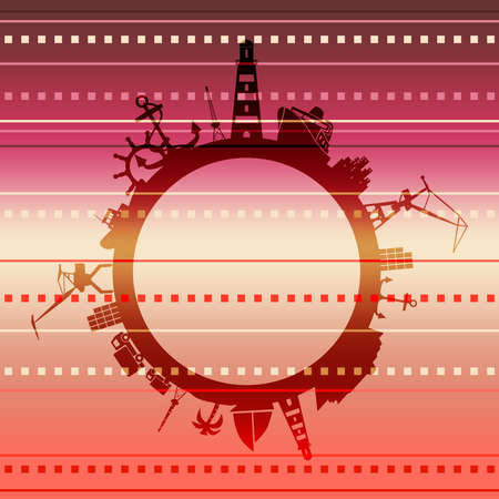 Circle with sea shipping and travel relative silhouettes. Objects located around the circle. Industrial design background.