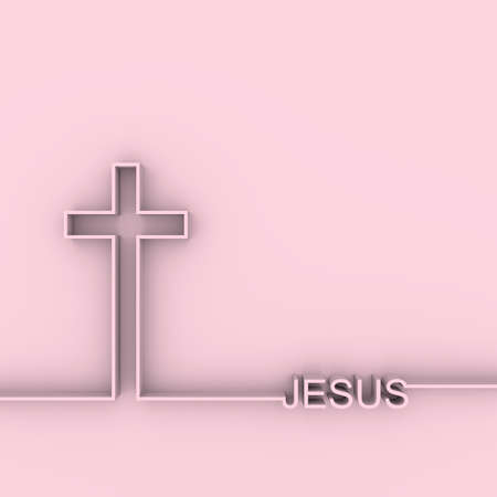 Christianity concept illustration. Cross and Jesus word. 3D rendering 스톡 콘텐츠