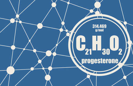 Progesterone hormone chemical formula. Biochemistry and gynecology illustration. Connected lines with dots background