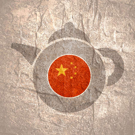Tea emblem template and design element for tea shop, restauran. Teapot abstract illustration. Flag of the China