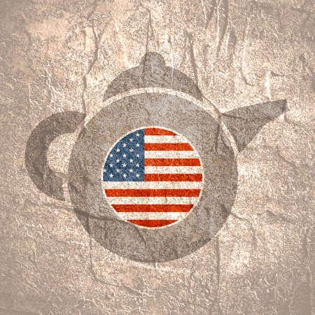 Tea emblem template and design element for tea shop, restauran. Teapot abstract illustration. Flag of the USA
