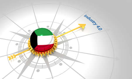 Industry four point zero. 3D rendering. Abstract compass points to the word. Flag of the Kuwait
