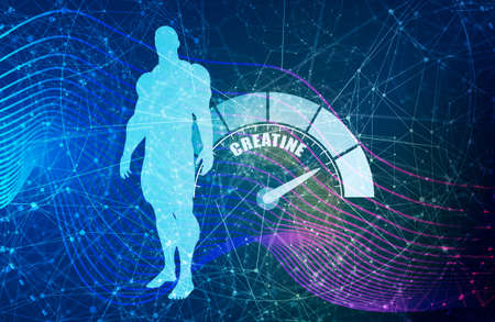 Gradient scale. Creatine level measuring device icon. Sign tachometer, speedometer, indicators. Infographic gauge element. Silhouette of muscular man