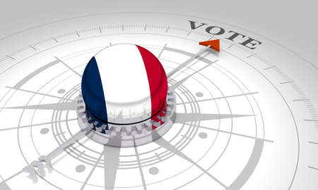 Voting concept. 3D rendering. Abstract compass points to the vote word. Flag of the France