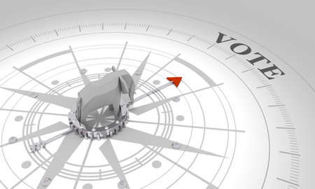 Voting concept. 3D rendering. Abstract compass points to the vote word. Low poly elephant