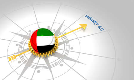 Industry four point zero. 3D rendering. Abstract compass points to the word. Flag of the United Arab Emirates