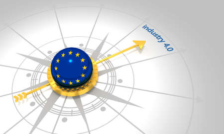 Industry four point zero. 3D rendering. Abstract compass points to the word. Flag of the European Union