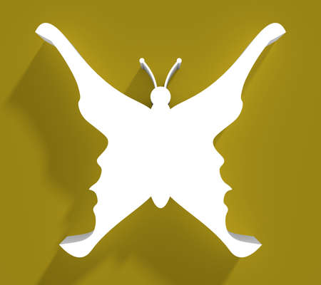 A butterfly or two face profile view. Optical illusion. Human head make silhouette of insect. 3D rendering