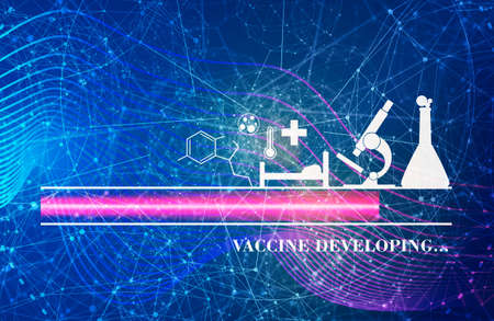 Coronavirus vaccine developing. Medical research theme. Virus epidemic alert. Progress or loading bar