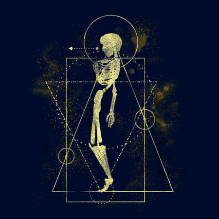 Mystery, witchcraft, occult and alchemy tattoo sign. Mystical vintage gothic geometry thin lines symbol with silhouette of a human skeleton. Glowing dust