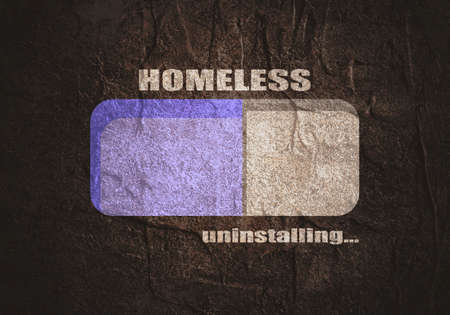 Homeless uninstalling concept. Unemployment and homeless issues. Progress or loading bar. Stockfoto