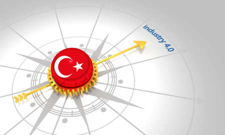 Industry four point zero. 3D rendering. Abstract compass points to the word. Flag of the Turkey Banque d'images