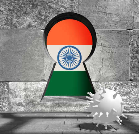Coronavirus pandemic concept. Model of virus in empty room. Rough surface of the stone blocks. 3D rendering. Key hole with flag of the India