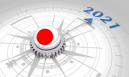 New Year greeting card template. 2021 year number. 3D rendering. Flag of the Japan