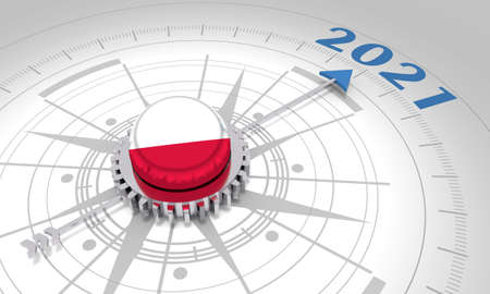 New Year greeting card template. 2021 year number. 3D rendering. Flag of the Poland