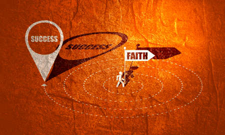 Christianity concept illustration. Pathway with faith to success