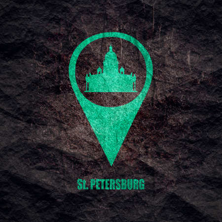 Silhouette of the Saint Isaac Cathedral in Saint Petersburg Russia. Modern minimalist icon in location pointer