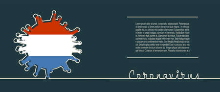 Abstract virus silhouette and Coronavirus text in thin line style. Coronavirus virus danger relative illustration. Medical research theme. Virus epidemic alert. Flag of the Netherlands