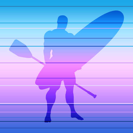 Man posing with surfboard and paddle. Vintage surfing graphic and emblem. Stand up paddle boarding