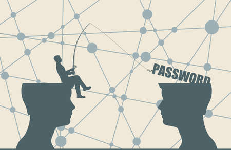 One businessman steal the password from another. Commercial spying concept