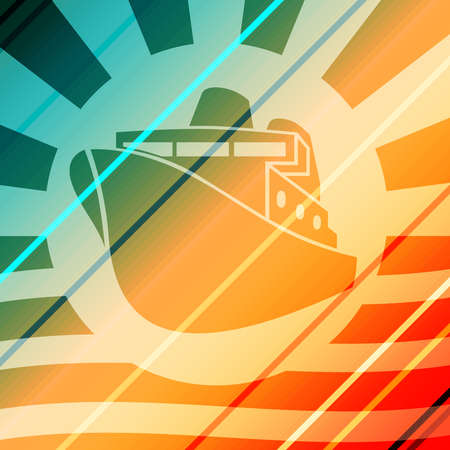 Ferry boat icon. Abstract sun burst and waves