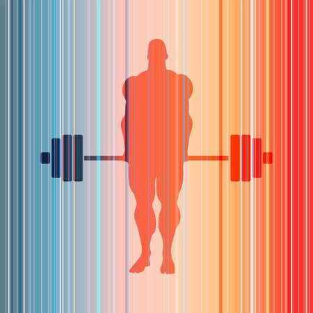 Bodybuilder with barbell silhouettes. Icon of the posing athlete 向量圖像