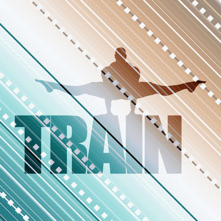Muscular man silhouette and train word. Bodybuilding relative image Illustration
