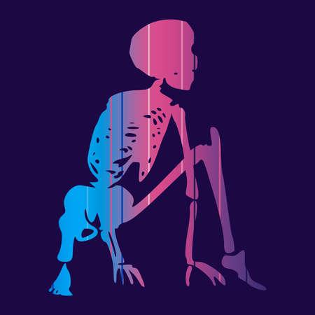 Human skeleton posing. Ready to jump. Halloween party design template Illustration