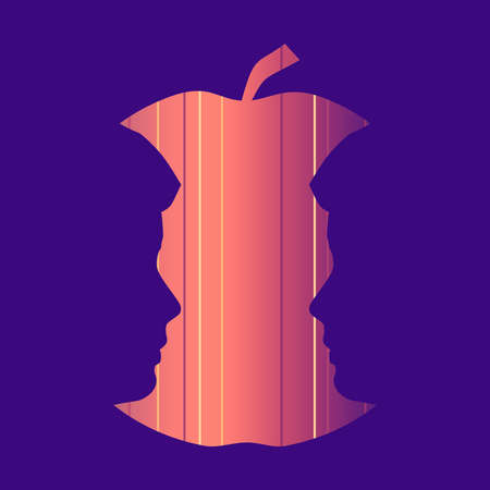 An apple or two men face profile view. Optical illusion. Human head make silhouette of fruit. 向量圖像