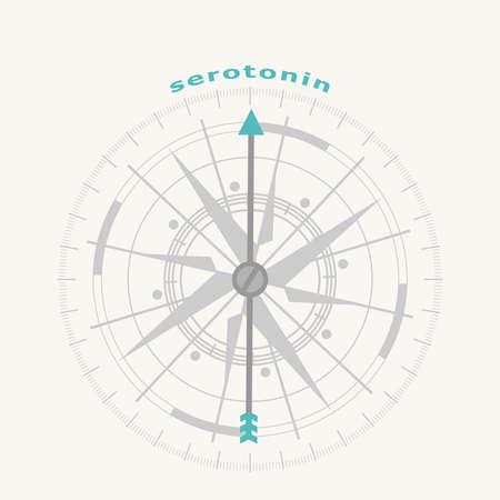 Hormone serotonin. Health care concept illustration. Compass symbol on geometry pattern
