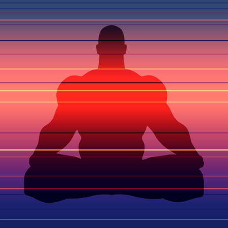 Muscular man sit in meditation pose. Bodybuilder relaxing. Human silhouette. Yoga center brochure.